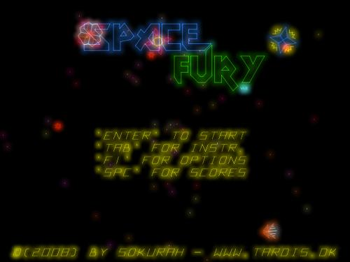 Space Fury Remake: Menú principal.