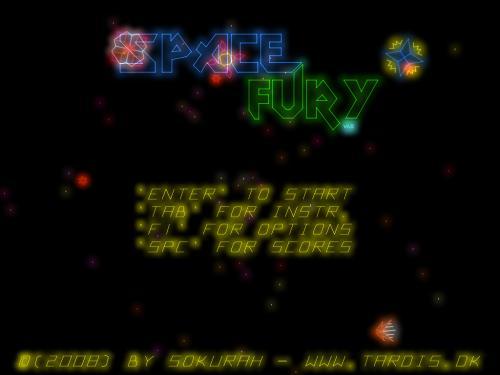 Space Fury Remake: Menú principal.